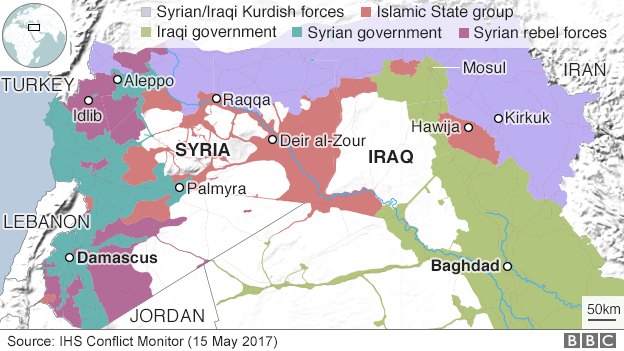 Map showing control of Iraq and Syria (15 May 2017)