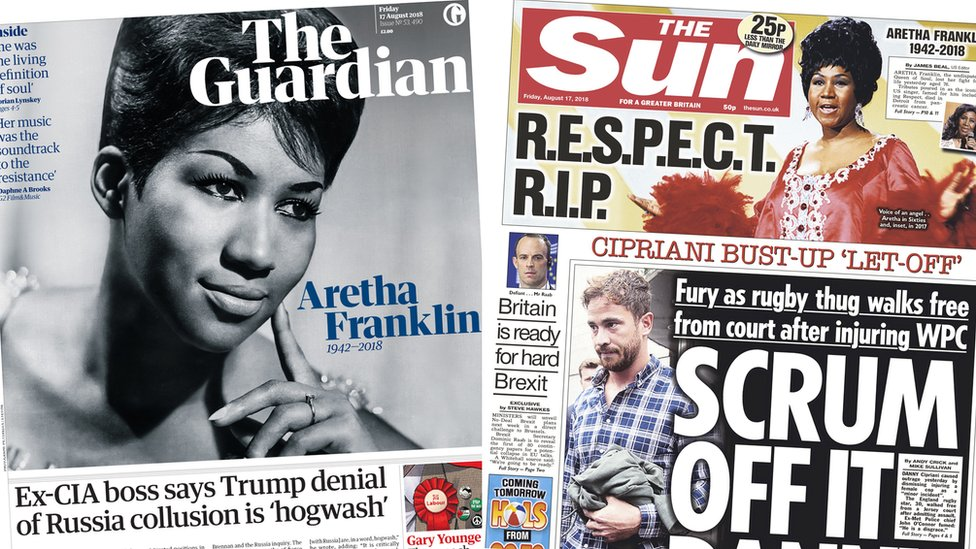 The Papers: Tributes to Queen of Soul and outrage over Cipriani