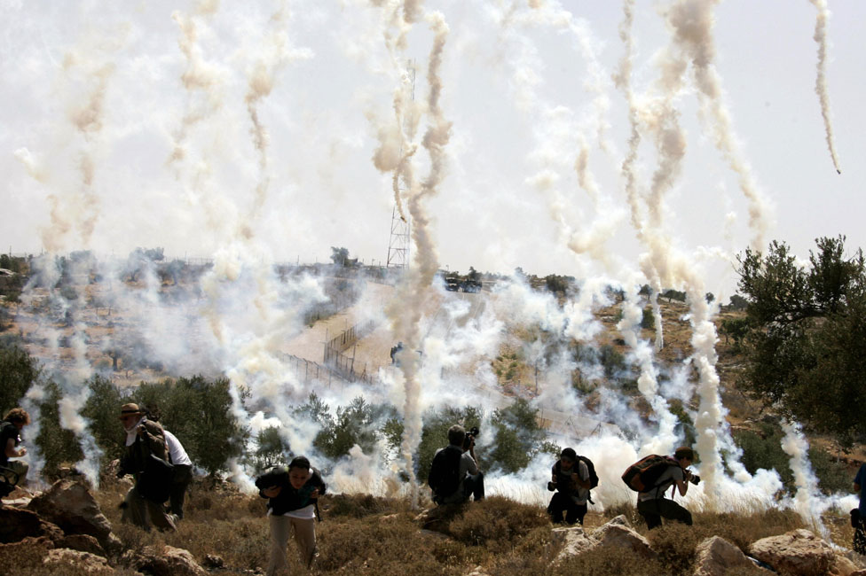 Tear gas canisters in use in Bilin in 2008