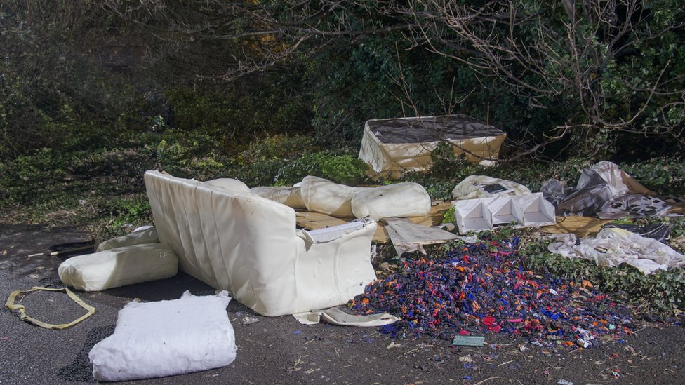 Decaying furniture and other waste among trees