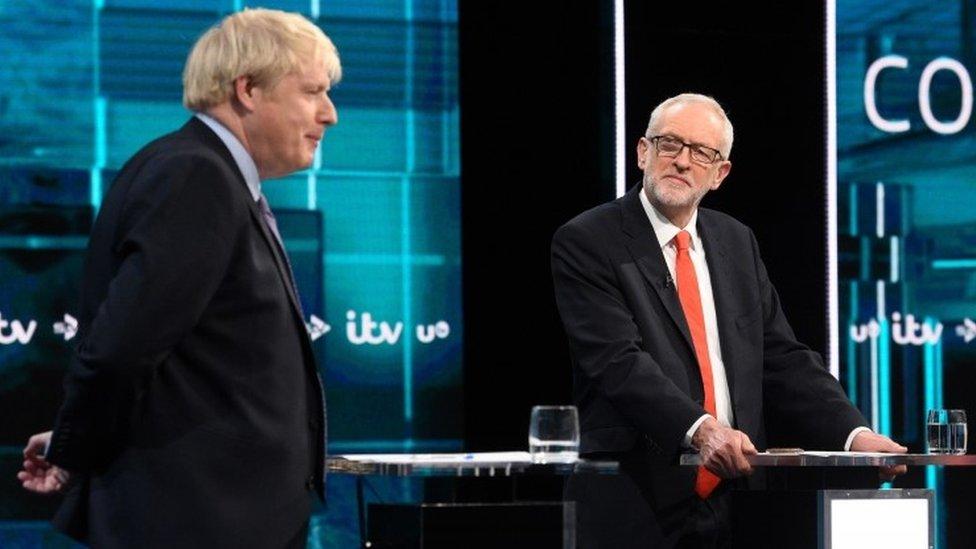 Johnson and Corbyn during ITV debate