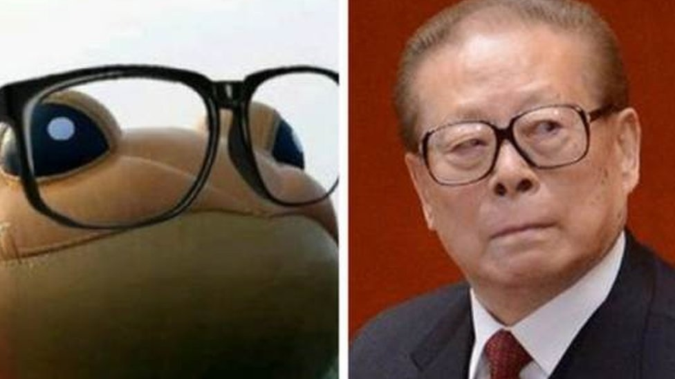 Meme of Jiang Zemin and a toad with glasses