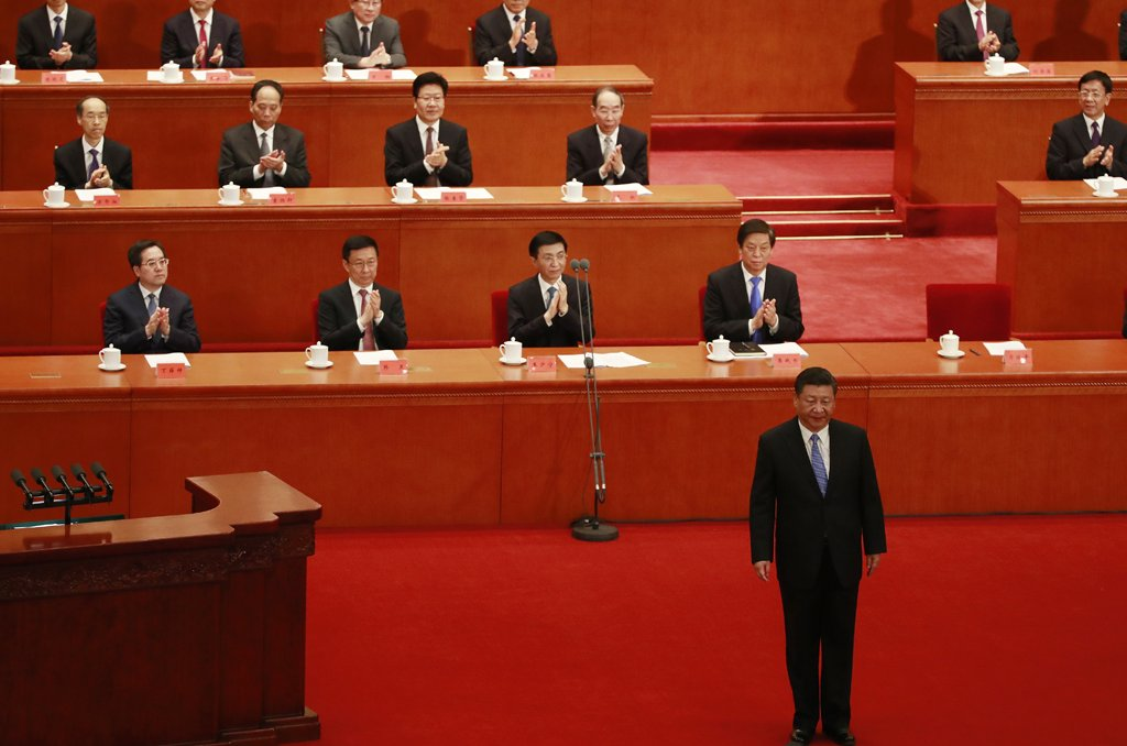 """Chinese President Xi Jinping (R, bottom) stands to deliver his speech during an anniversary event celebrating he 200th year of the birth of Karl Marx at the Great Hall of the People (GHOP) in Beijing, China, 04 May 2018. The date 04 May 2018 marks the 200th anniversary year of the birth of the German philosopher Karl Marx, who co-wrote and published the pamphlet """"The Communist Manifesto"""" and wrote the materialist philosophical text """"Das Kapital"""". EPA/HOW HWEE YOUNG"""