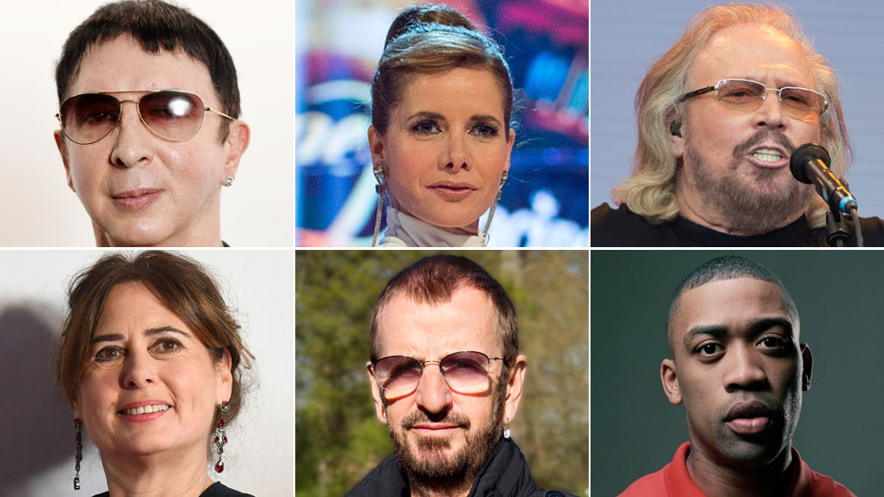 Clockwise from top left: Marc Almond, Darcey Bussell, Barry Gibb, Wiley, Ringo Starr, Alexandra Shulman