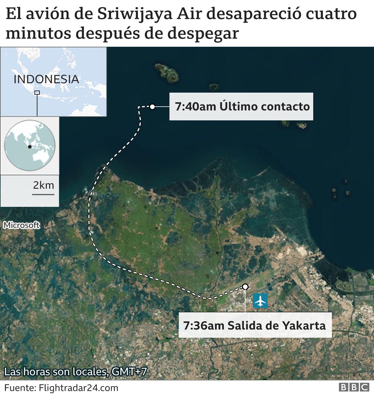 Mapa de avión desaparecido.