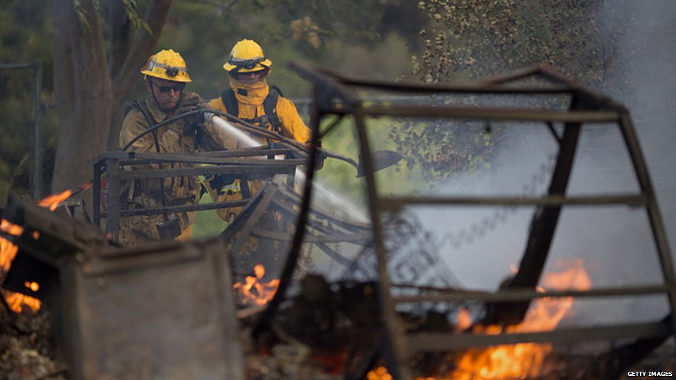 Fire-fighters north of Los Angeles