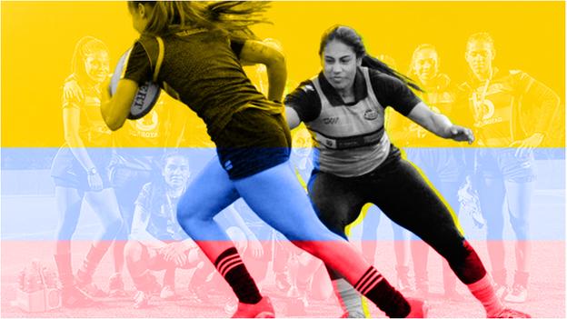 Gráfico que muestra a Isabel Romero jugando al rugby, con los colores de la bandera de Colombia.