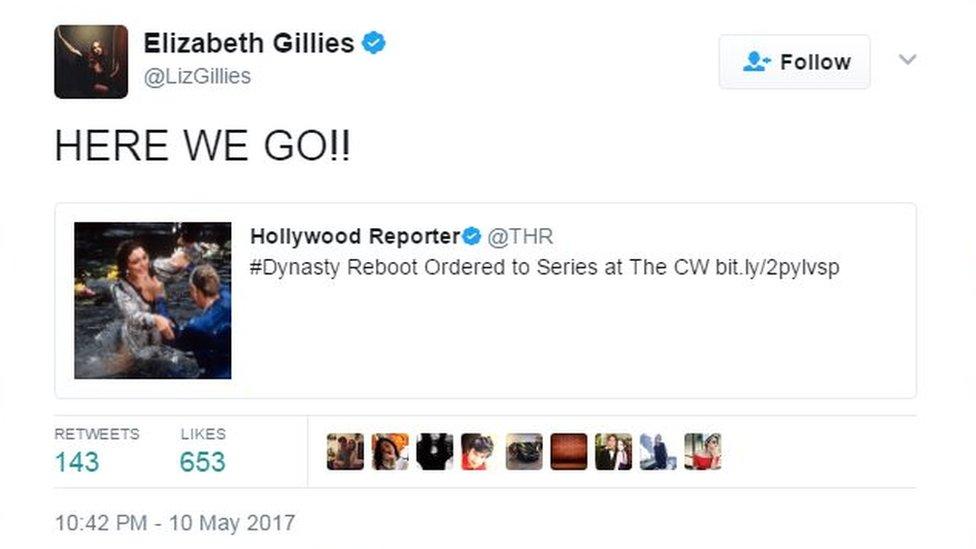 Elizabeth Gillies tweets 'Here we go!!'