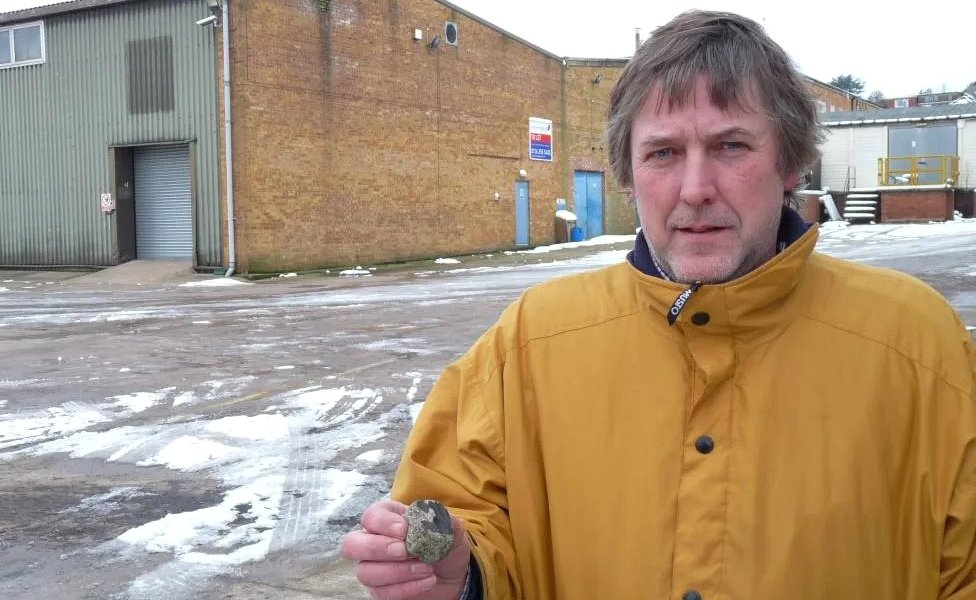 Philip Wright with a Barwell meteorite