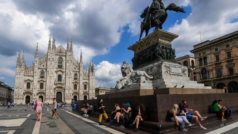 Plaza del Duomo, en Milán.