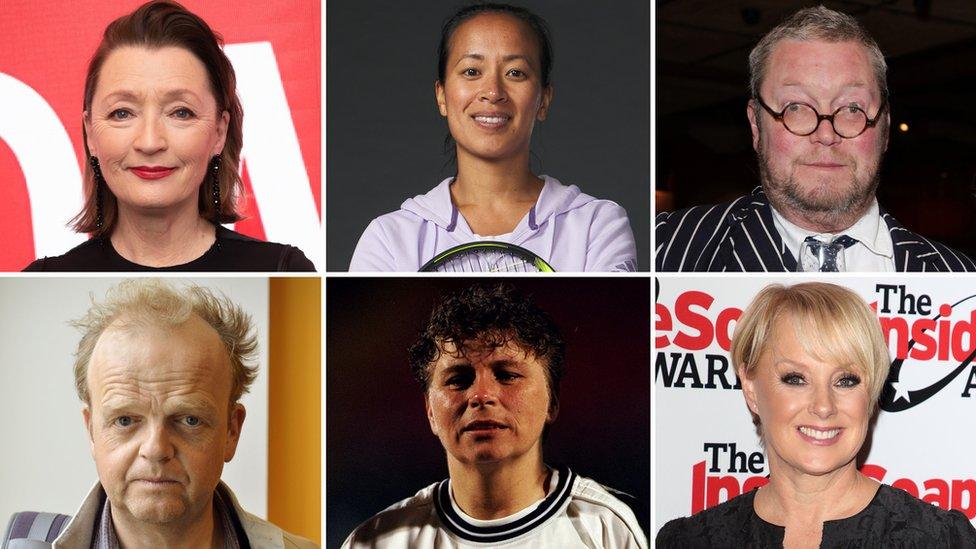 (Clockwise from the top left): Lesley Manville, Anne Keothavong, Ferguson Henderson, Gillian Coultard, Sally Dynevor, Toby Jones
