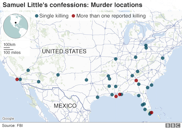 FBI 公布的利特爾作案受害人的分佈地圖。