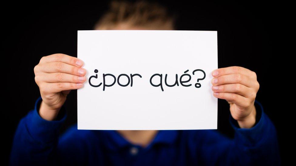 Una persona sosteniendo un cartel con la pregunta ¿por qué?