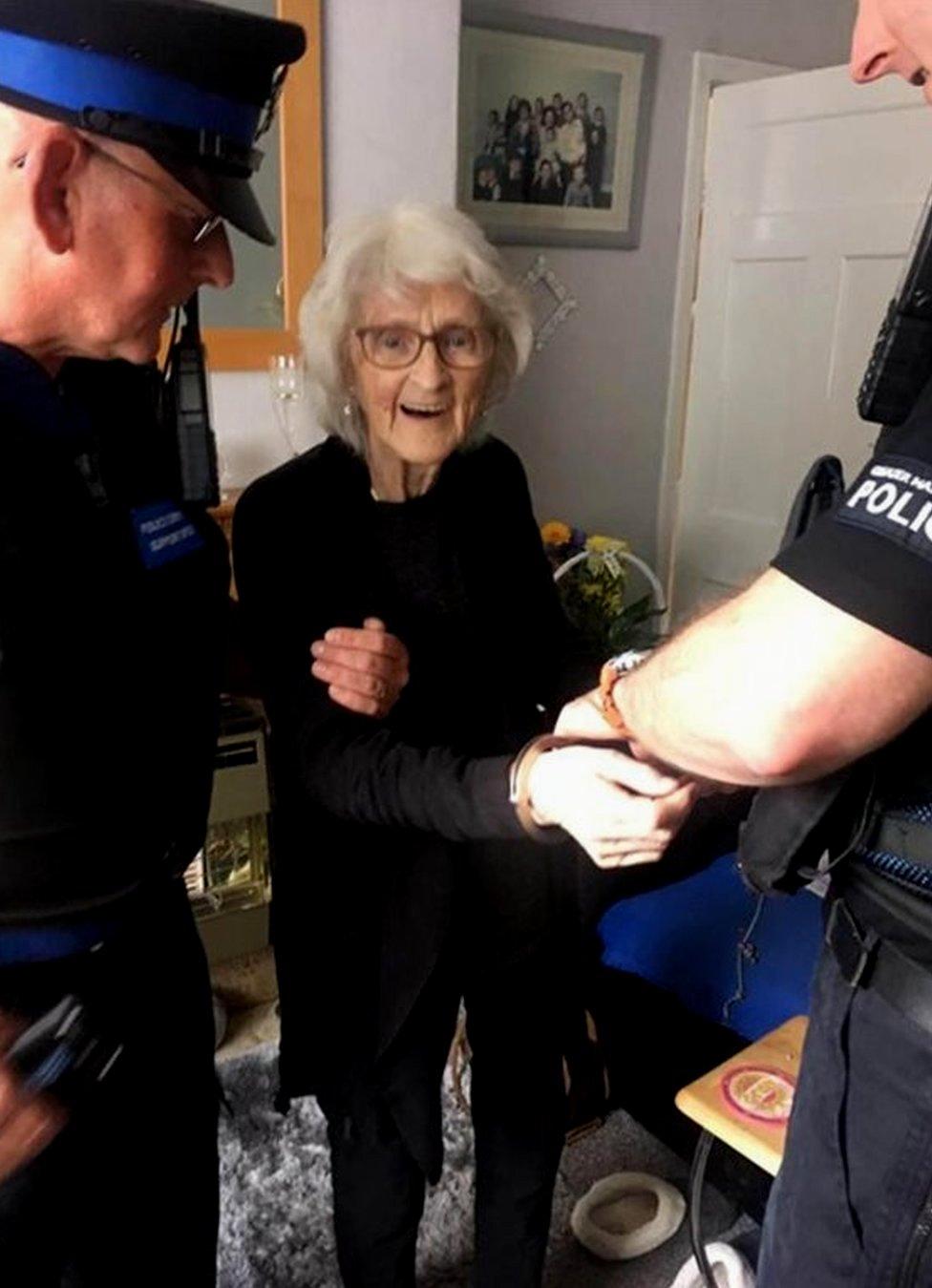 Josie Birds being arrested