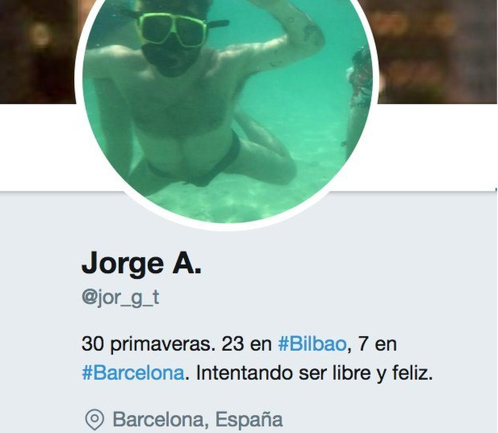 """The Twitter profile of the """"victim"""" Jorge, as created by Modesto García"""