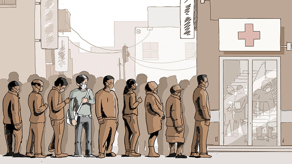 Illustration of waiting for care in a hospital in Wuhan