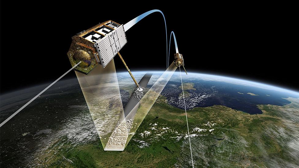 Ilustración de los dos satélites utilizados en el nuevo mapa en 3D