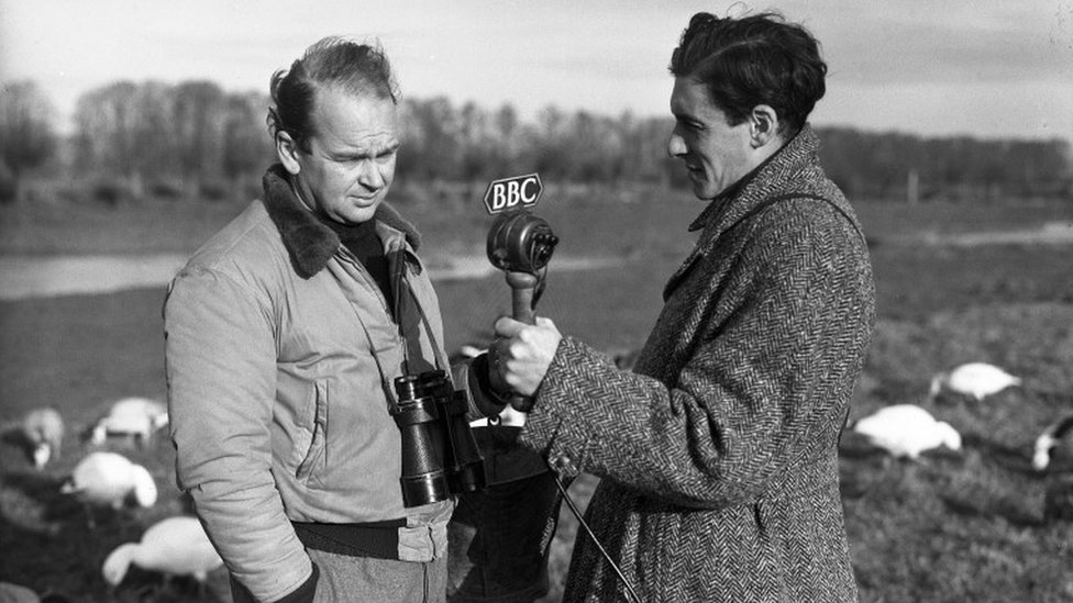 Peter Scott being interviewed by the BBC's Desmond Hawkins in 1947