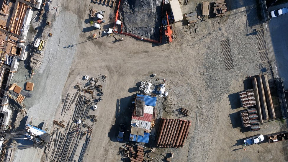 Drone view of a building site