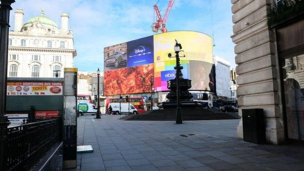 2020年3月,封城措施下的倫敦市中心人去樓空