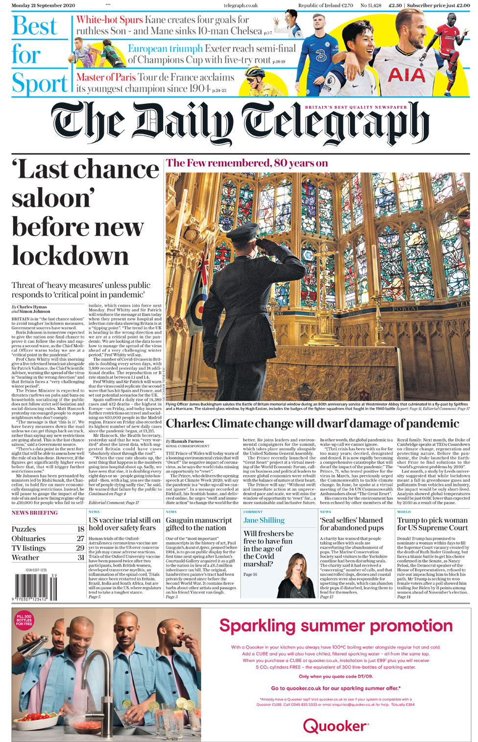 Newspaper headlines: 'Last chance saloon' before lockdown, and cabinet 'split' thumbnail