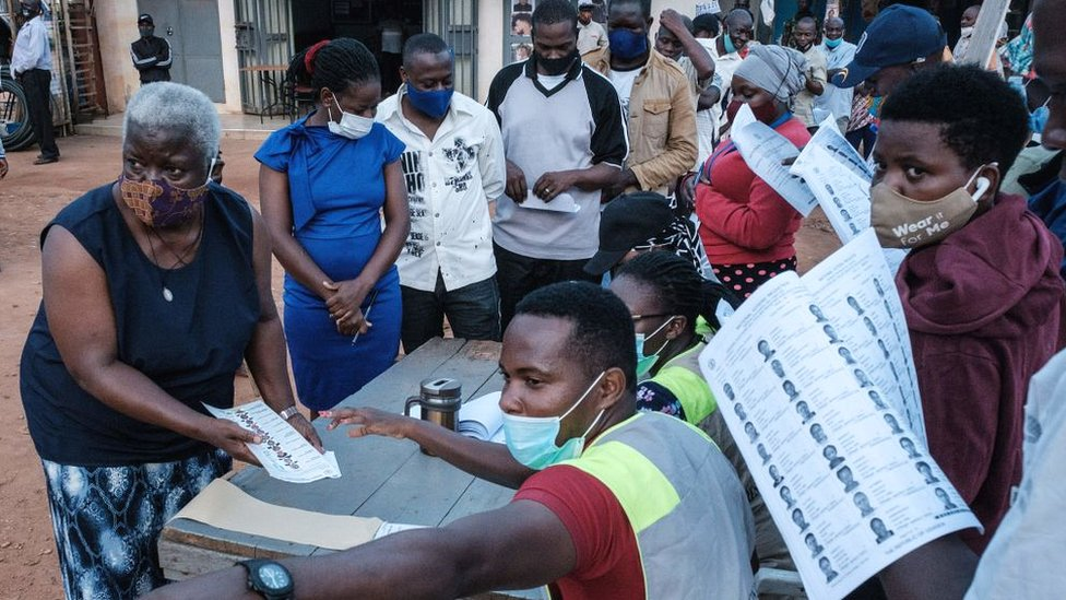 Voters lining up at a polling station in Kampala, Uganda.