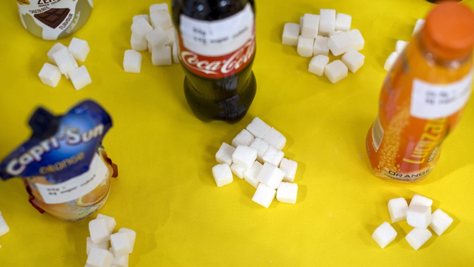Display showing sugar content of various drinks at Fitzwilliam Community Centre