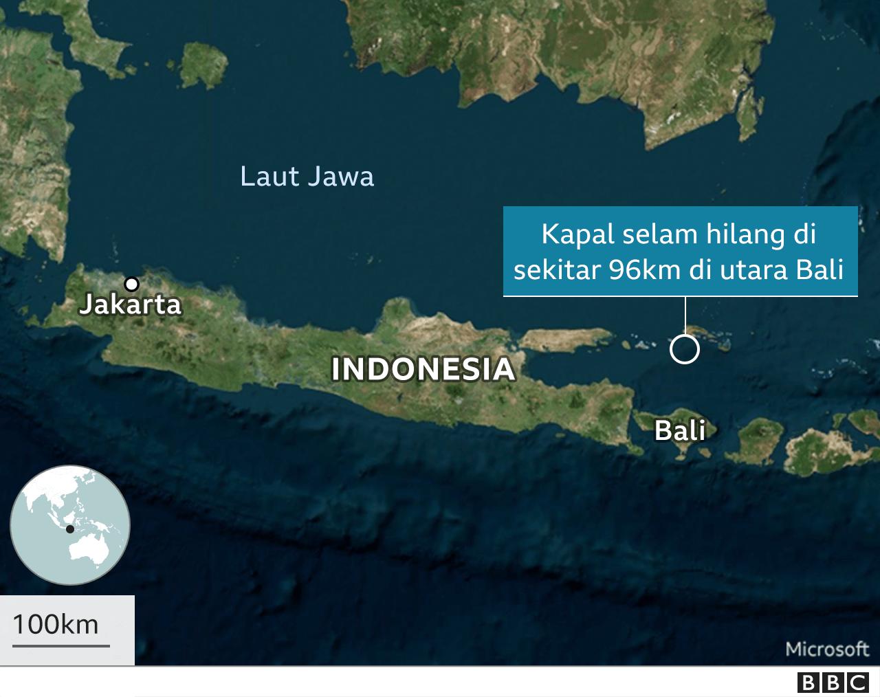 Peta lokasi hilangnya kapal selam.