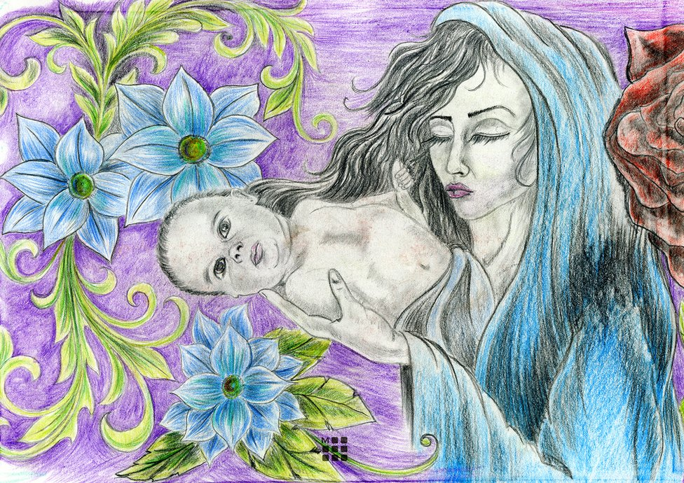 A drawing from Angela's sketchbook showing a mother and baby