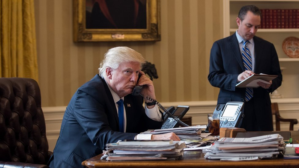 US President Donald Trump on his first call from the White House to Russian President Vladimir Putin