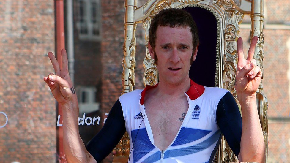 "Bradley Wiggins celebrates after winning gold in the Men""s Individual Time Trial Road Cycling at the London 2012 Olympic Games"