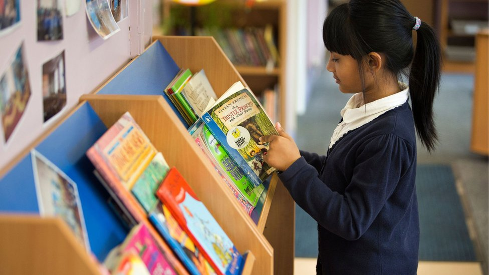 Primary school student in library