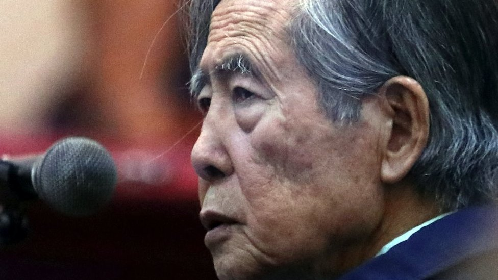 Former President of Peru Alberto Fujimori attends a trial as a witness at the navy base in Callao, Peru March 15, 2018