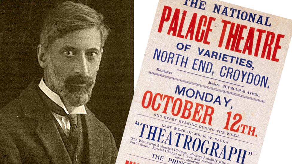 Robert W. Paul y cartel anunciando presentación de película con theatrograph.