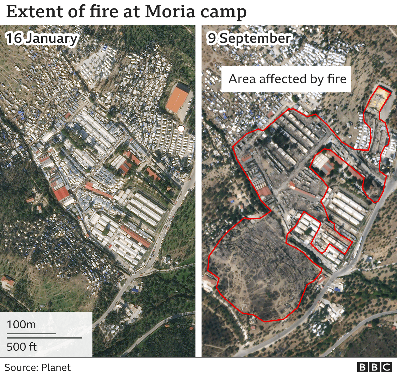 Map showing the extent of fire in Moria Camp