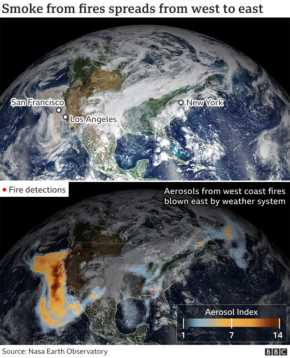 Nasa satellite image showing plumes of smoke crossing the US