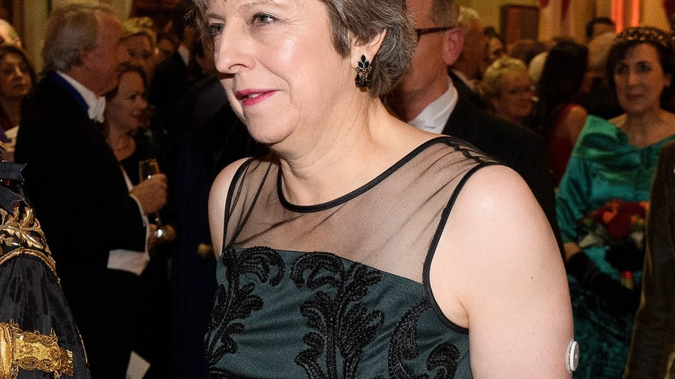 Theresa May with the monitor