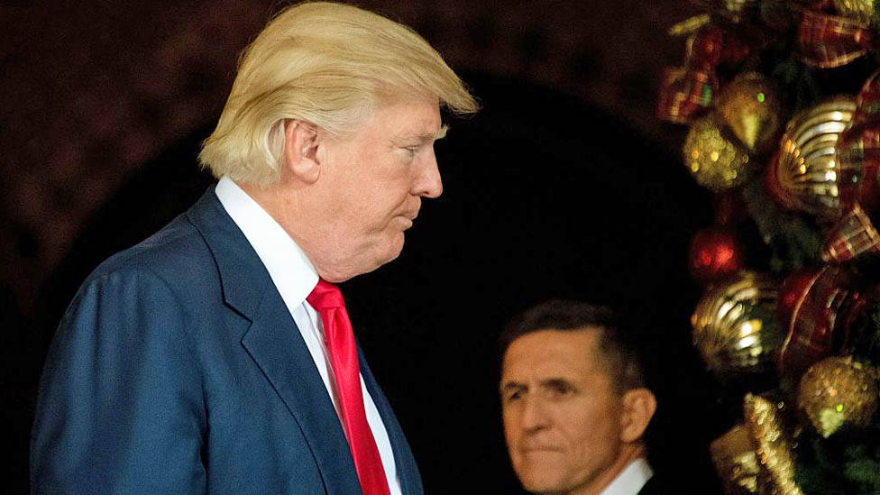 Donald Trump at his Mar-a-Lago residence with Michael Flynn