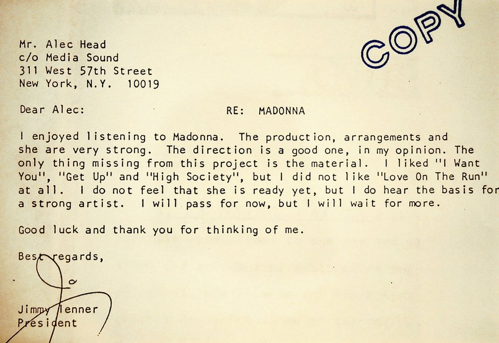 Madonna's 1981 rejection letter is up for sale at a Sotheby''s auction of Madonna memorabilia July 18, 2001 in New York City