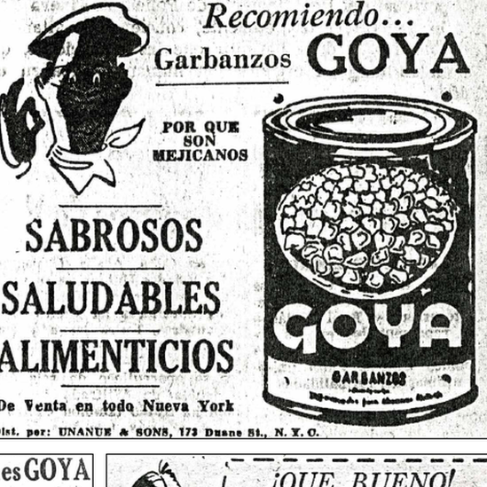 Aviso publicitario de Goya