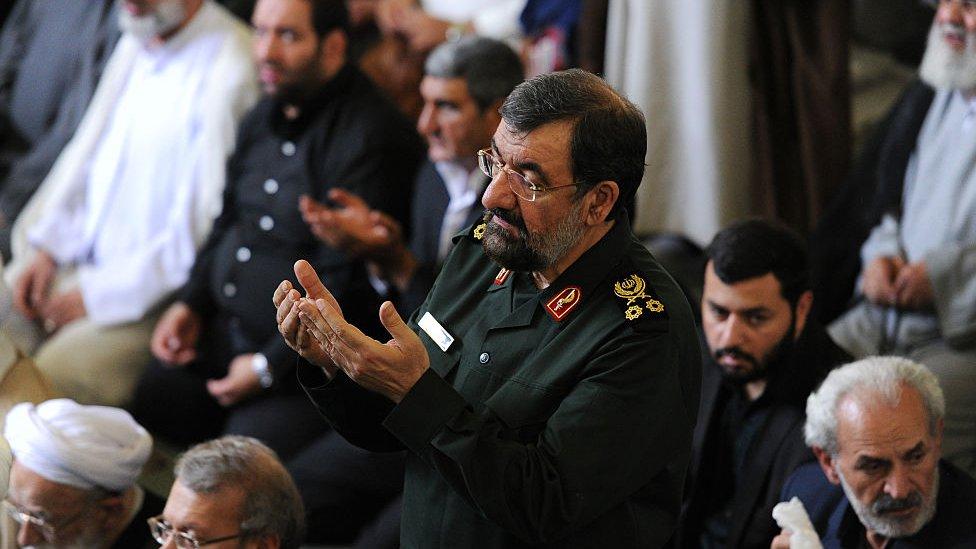 Mohsen Rezai praying on Quds Day