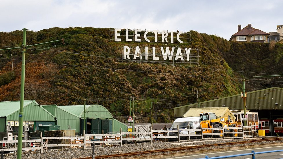 Electric Railway sign and Derby Castle tram car sheds