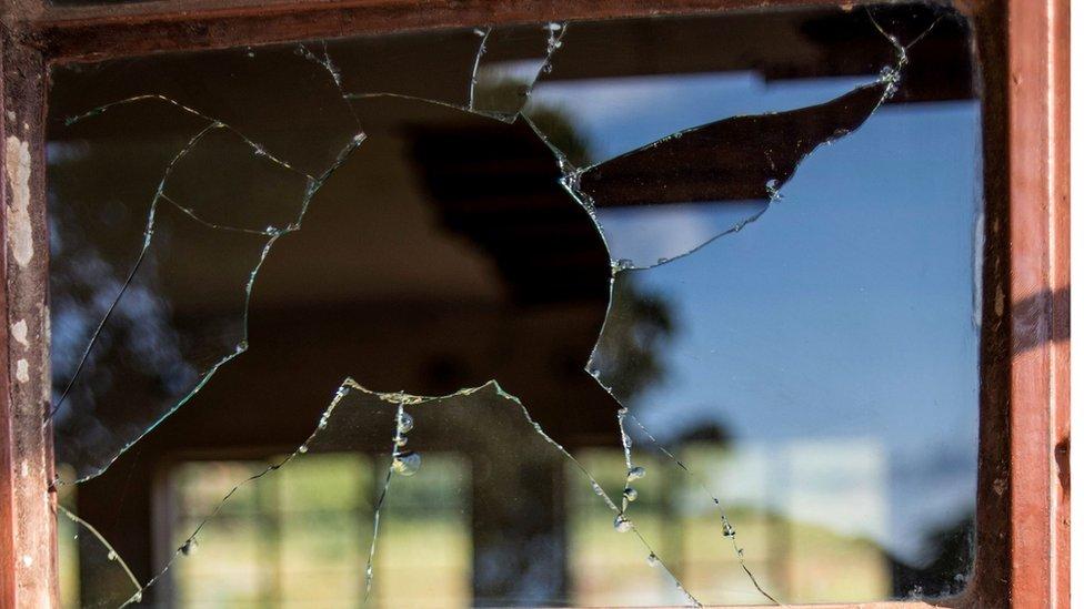 A broken window of a school in Limpopo