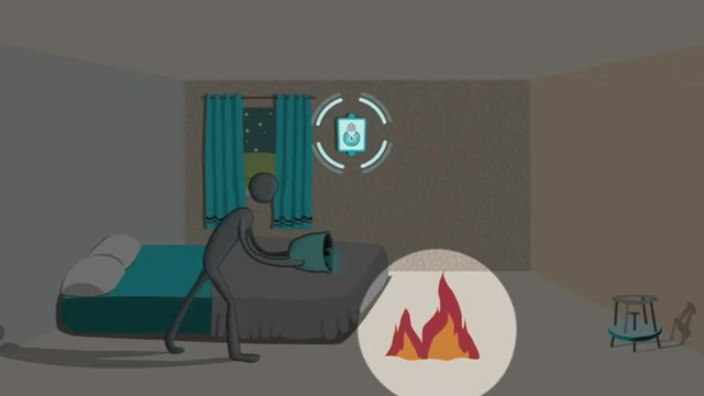 A graphic showing the fire alarm in action