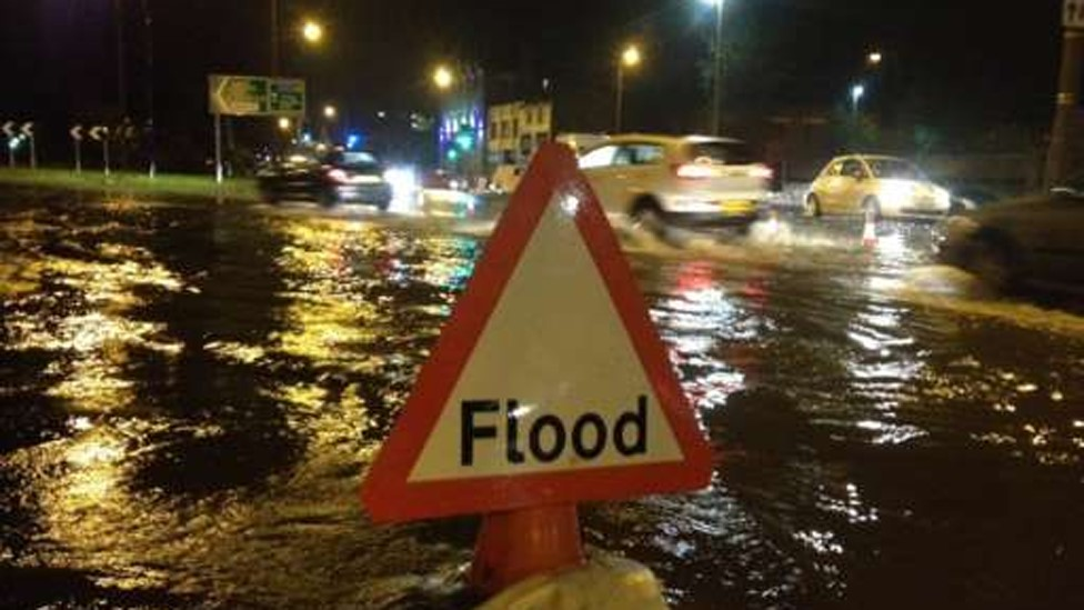 Flooding in Lancaster city centre