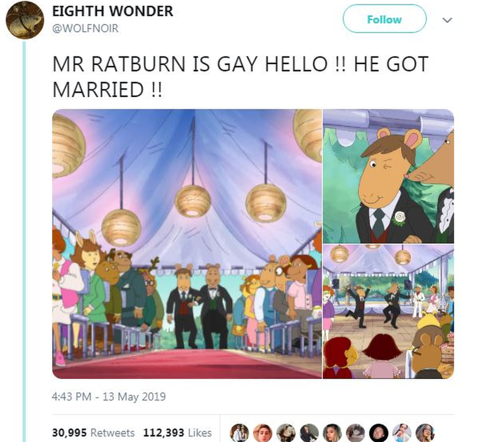 Tweet with photos from the cartoon saying 'Mr Ratburn is gay hello!! He got married!!'