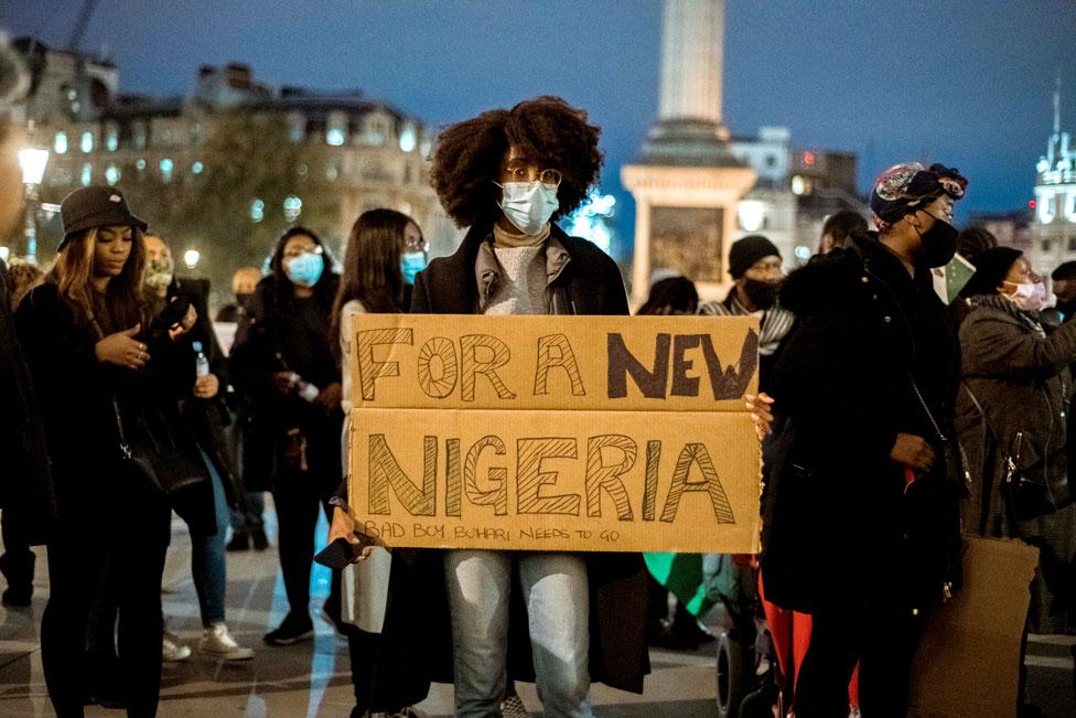Protesters in Trafalgar Square in London