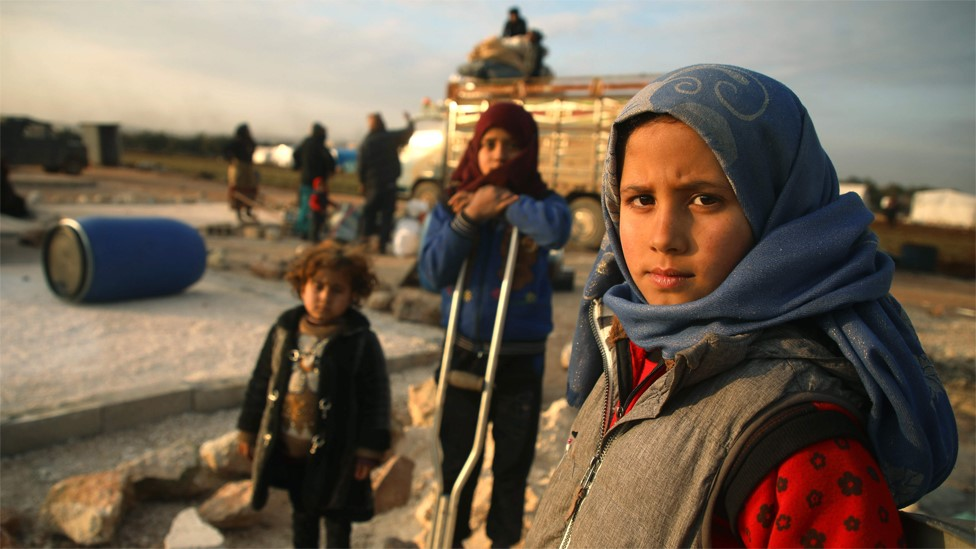 Syrian children at a camp for displaced people east of Sarmada, Idlib province (16 February 2020)