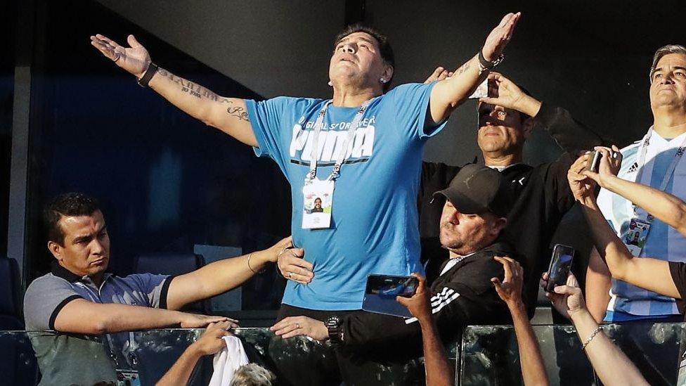 Maradona durante el partido contra Nigeria