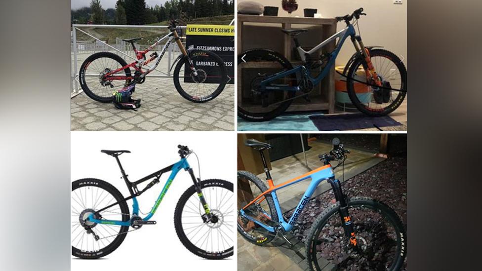 Composite image of four mountain bikes